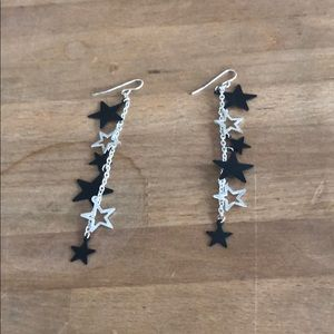 Black and Silver Star Earrings